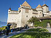 Picture of a visitor outside Chateau Chillon, Switzerland