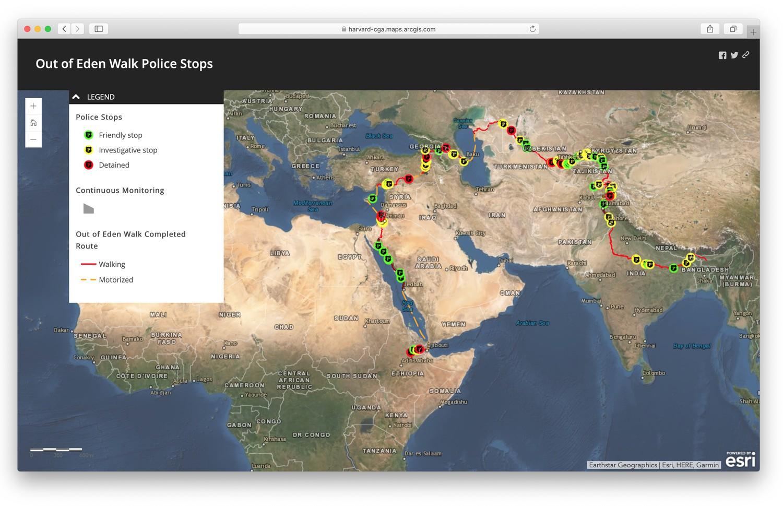 Plecarea din Eden. Opriri de poliție: Cu verde - oprire prietenească. Cu galben - oprire de cercetare. Cu roșu - arestare. Linie roșie - mers pe jos. Linie galbenă înreruptă - deplasare motorizată.